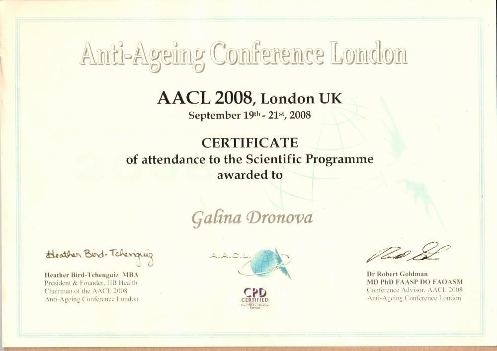 Anti-aging Conference London Лондон, 2008